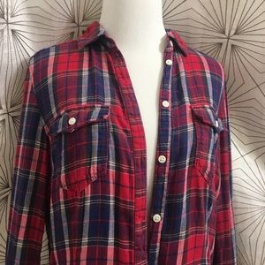 H&M Red and Blue Plaid Flannel Shirt